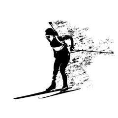 Biathlon race, abstract grungy skier vector silhouette
