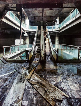 Abandoned building with escalators