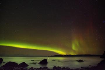 Northern Lights above North Ocean in Russia, Teriberka
