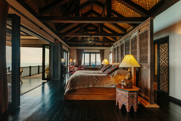 Luxury villa bed room interior. Sea view