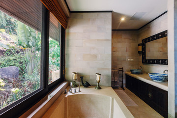 Bathroom interior in luxury villa