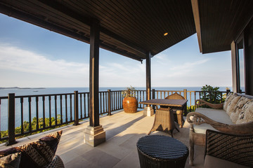 Tropical luxury villa interior,  sea view veranda