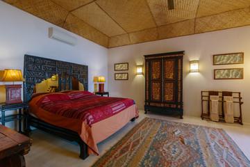 Modern bed room interior in Luxury villa. Vintage stile
