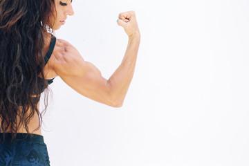 Beautiful Athlete female portrait on white background