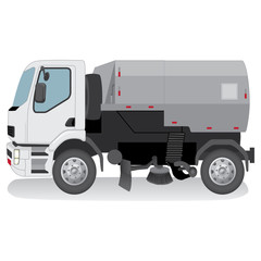 Illustration represents a transport, vehicle urban cleaning truck. Ideal for educational and institutional materials
