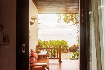 Luxury hotel room terrace sea view