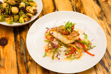 Creole sea bass and grilled brussels sprouts