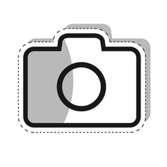 Photography camera icon for apps and websites - Outline Vector with Shadow