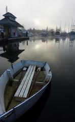 Rowing boat in misty harbor 01