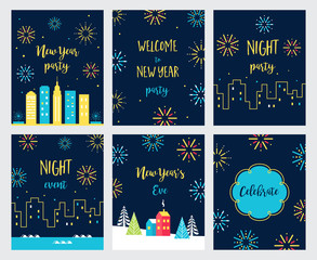 New Year Eve Fireworks Celebration. Cards and Invitations Set. Vector Design