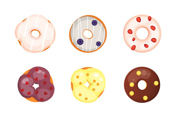 Catoon donut with glaze vector illustration isolated.