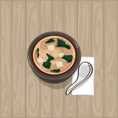 miso soup japanese food graphic object top view