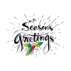 Season greeting hand lettering.