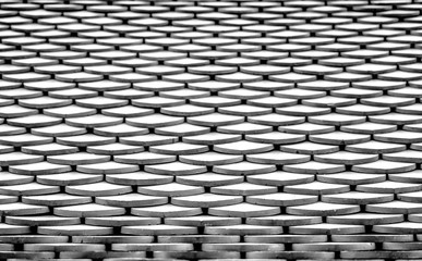 Roof tiles texture surface in black and white