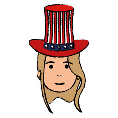woman with USA hat