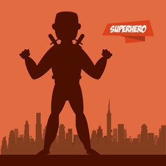 Ninja superhero cartoon on city silhouette icon vector illustration graphic design