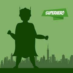 Superhero man cartoon on city silhouette icon vector illustration graphic design