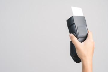 Hand holding camera  external flash speed light