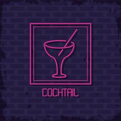 Cocktail neon lights icon icon vector illustration graphic design