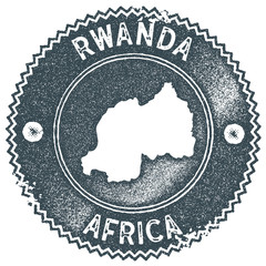 Rwanda map vintage stamp. Retro style handmade label, badge or element for travel souvenirs. Dark blue rubber stamp with country map silhouette. Vector illustration.