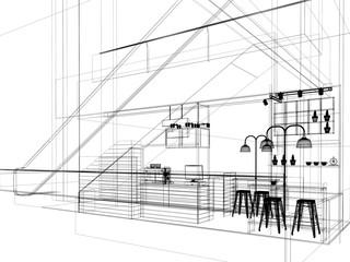 sketch design of coffee shop ,3d rendering