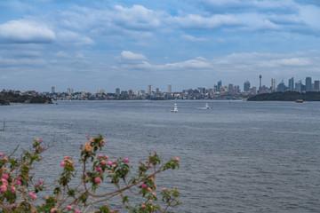 Sydney-Skyline diagonal über das Hafenbecken fotografiert