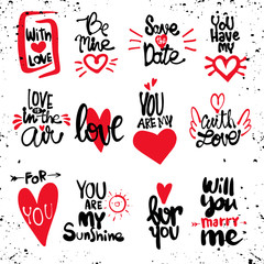 Set of Love hand drawn quotes in vector. Love messages