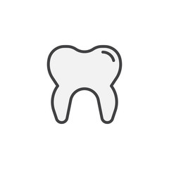 Human tooth filled outline icon, line vector sign, linear colorful pictogram isolated on white. Dental care symbol, logo illustration. Pixel perfect vector graphics