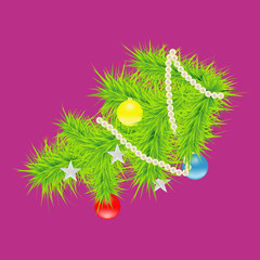 Vector illustration of a fir branch. Christmas picture decorated spruce branch.