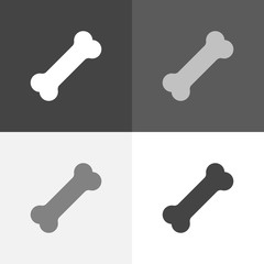 Vector set icon of dog bone. Vector white icon on white-grey-black color.