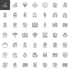 Family relatives line icons set, outline vector symbol collection, linear style pictogram pack. Signs, logo illustration. Set includes icons as pregnancy, baby,father, mother, newborn, grandfather