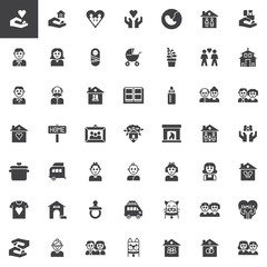 Family relatives vector icons set, modern solid symbol collection, filled style pictogram pack. Signs, logo illustration. Set includes icons as pregnancy, baby,father, mother, newborn, grandfather