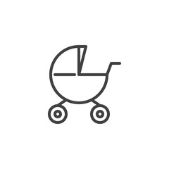 Baby carriages pram line icon, outline vector sign, linear style pictogram isolated on white. Stroller symbol, logo illustration. Editable stroke