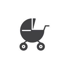 Baby carriages pram icon vector, filled flat sign, solid pictogram isolated on white. Stroller symbol, logo illustration.