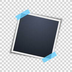 Polaroid on a transparent background. Photo frame. Blue scotch tape. Vector