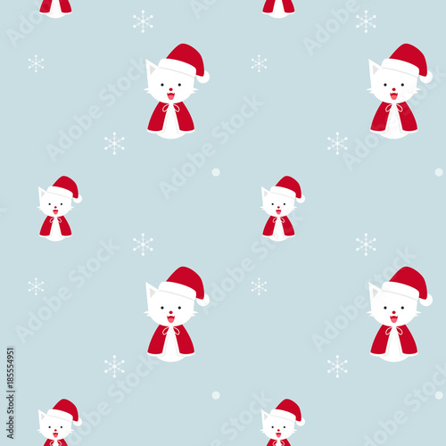 Santa cat, Christmas cats with snow flakes in winter season