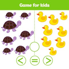 Education logic game for preschool kids. Choose the correct answer. More, less or equal Vector illustration. Animal pictures for kids