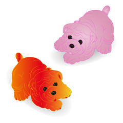 Two cute puppies, (pink and yellow), cartoon on white background,
