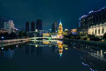 Skyline of Shanghai City in the Night View from Waibaidu Bridge