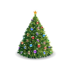 Lush Christmas tree, with toys and a star, cartoon on a white background,