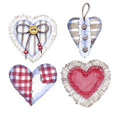 hand drawn watercolor textile hearts on Valentine's day