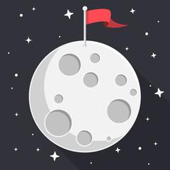 Mond mit Fahne Flat Design Icon
