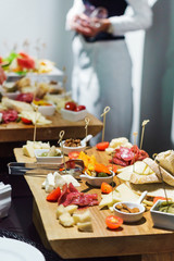 catering table with appetizers