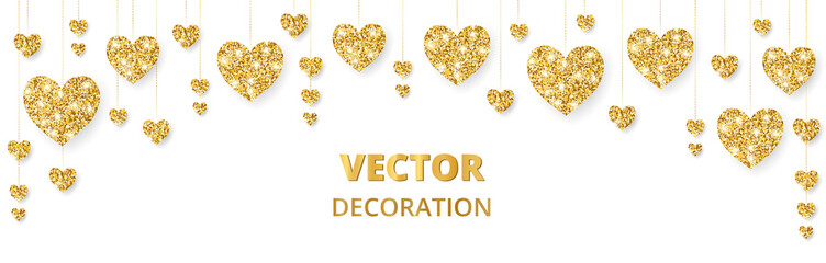 Golden hearts frame, border. Vector glitter isolated on white. For decoration of Valentine and Mothers day cards, wedding invitations