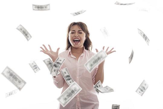 woman money emotional portrait on a white bg