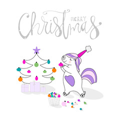 Cute Unicorn decorates the Christmas tree. Cartoon Merry Christmas greeting card. Happy Winter Holidays vector illustration design. Xmas or New Year digital background