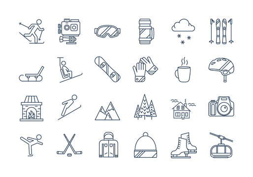 Outline WINTER SPORT icons set