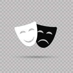 Happy and sad masks. Theater.