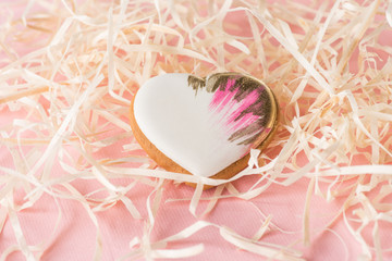 close up view of sweet heart shaped cookie and decorative straw on pink, st valentines holiday concept