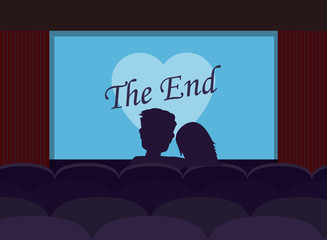 Couple of lovers watching romantic movie in cinema theater. Silhouettes a loving couple at movie theater. Vector flat cartoon illustration